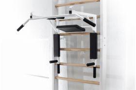 Wall bar mounted pull up/press up gym bar
